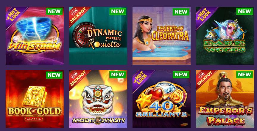 Избор на казино игри в Sesame